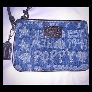 Coach denim wristlet wallet